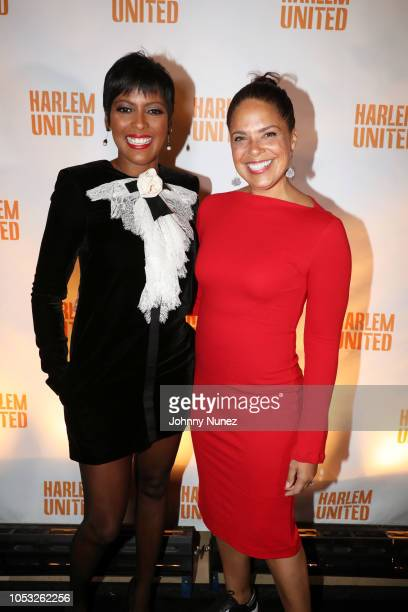 Tamron Hall and Soledad O'Brien attend the Harlem United Boulevard Bash at Rotunda Library on October 24 2018 in New York City
