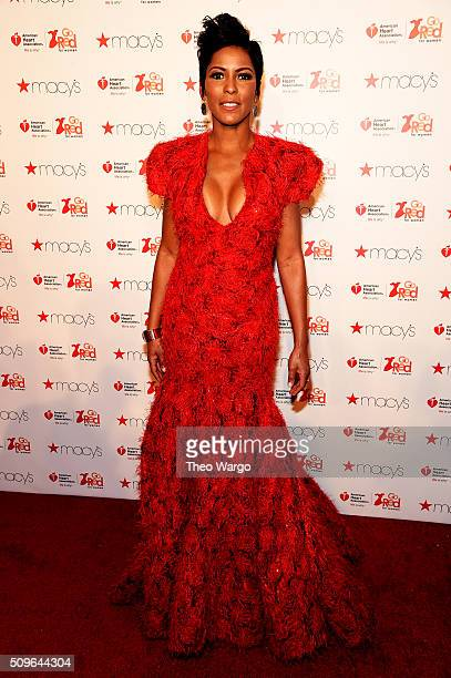Tamron Hall attends The American Heart Association's Go Red For Women Red Dress Collection 2016 Presented By Macy's at The Arc Skylight at Moynihan...
