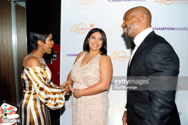 Tamron Hall Azriel Crews and Terry Crews attend Safe Horizon's Champion Awards at The Ziegfeld Ballroom on May 15 2018 in New York City