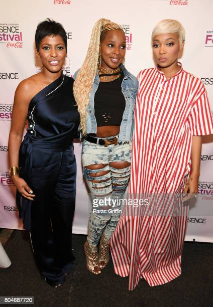 Tamron Hall Mary J Blige and Monica pose backstage at the 2017 ESSENCE Festival presented by CocaCola at Ernest N Morial Convention Center on June 30...