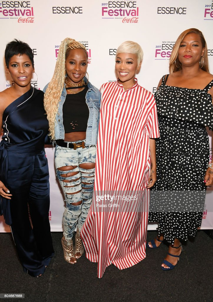 Tamron Hall, Mary J. Blige, Monica and Queen Latifah pose backstage at the 2017 ESSENCE Festival presented by Coca-Cola at Ernest N. Morial Convention Center on June 30, 2017 in New Orleans, Louisiana.
