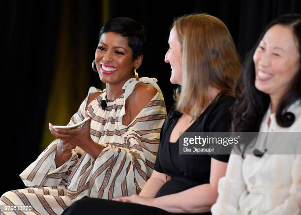 Tamron Hall Melissa Bernstein and Angela Kang speak onstage during the 'KickAss Women of AMC' Panel at the AMC Summit at Public Hotel on June 20 2018...