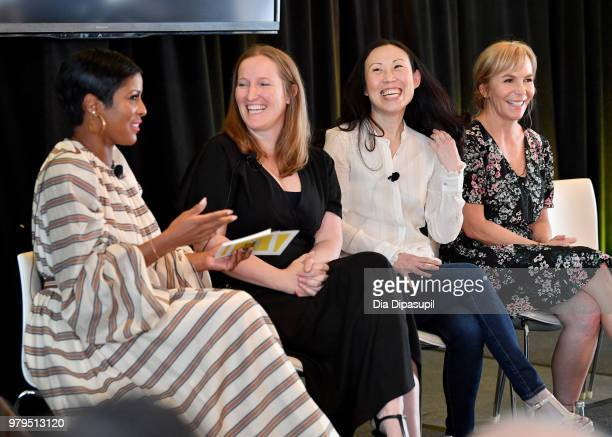 Tamron Hall Melissa Bernstein Angela Kang and Marti Noxon speak onstage during the 'KickAss Women of AMC' Panel at the AMC Summit at Public Hotel on...