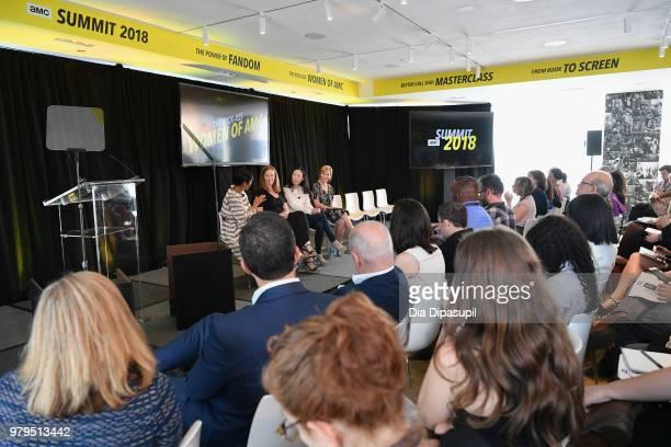 Tamron Hall Melissa Bernstein Angela Kang and Marti Noxon speak onstage during the 'The KickAss Women of AMC' Panel at the AMC Summit at Public Hotel...