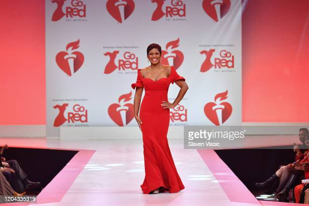 Tamron Hall walks the runway at The American Heart Association's Go Red for Women Red Dress Collection 2020 at Hammerstein Ballroom on February 05...
