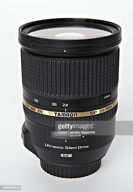 A Tamron SP AF 2470mm f/28 Di VC USD fullframe SLR lens photographed on a white background taken on May 22 2013