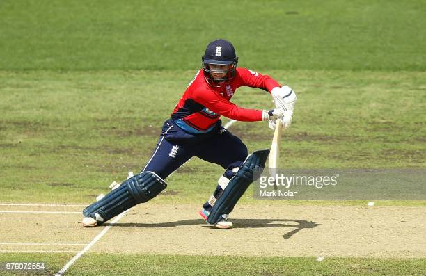 Tamsin Beaumont of England bats during the second Women's Twenty20 match between Australia and England at Manuka Oval on November 19 2017 in Canberra...