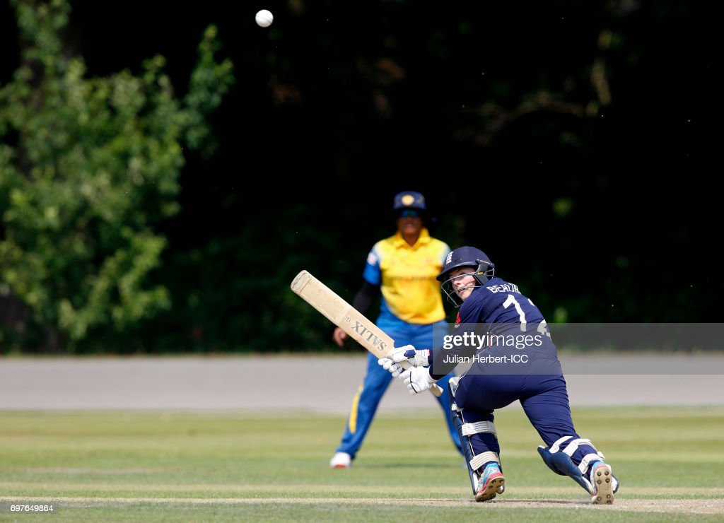 Tamsin Beaumont of England hits out during The ICC Women's World Cup warm up match between England and Sri Lanka at Queens Park on June 19, 2017 in Chesterfield, England.