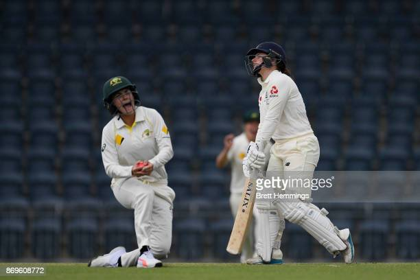 Tamsin Beaumont of England is caught out by Heather Graham of CAXI during day one of the Women's Tour match between England and the Cricket Australia...