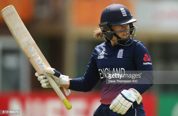 Tamsin Beaumont of England leaves the field after getting out for 96 during the ICC Women's World Cup match between England and New Zealand at The...
