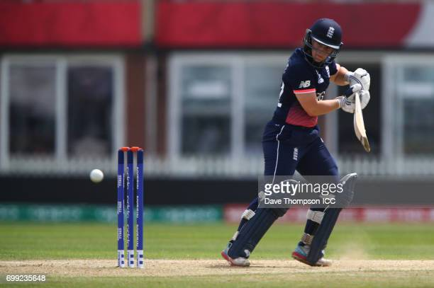 Tamsin Beaumont of England plays a shot during the ICC Women's World Cup warm up match between England and New Zealand at The County Ground on June...