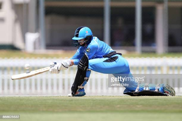 Tamsin Beaumont of the Adelaide Strikers plays a shot during the Women's Big Bash League WBBL match between the Hurricanes and the Strikers at...