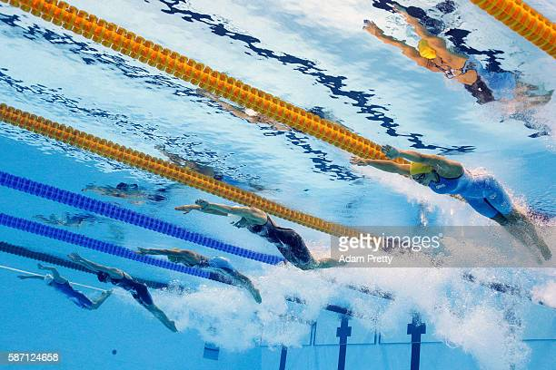 Tamsin Cook of Australia Lauren Boyle of New Zealand Boglarka Kapas of Hungary Katie Ledecky of the United States and Sharon van Rouwendaal of the...