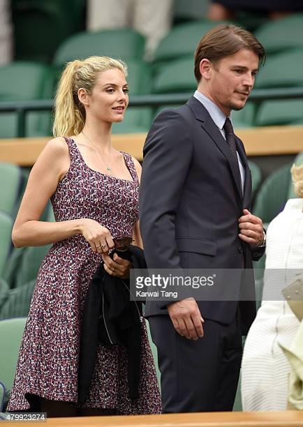 Tamsin Egerton and Josh Hartnett attend day nine of the Wimbledon Tennis Championships at Wimbledon on July 8 2015 in London England