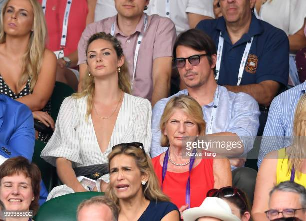 Tamsin Egerton and Josh Hartnett attend day twelve of the Wimbledon Tennis Championships at the All England Lawn Tennis and Croquet Club on July 14...