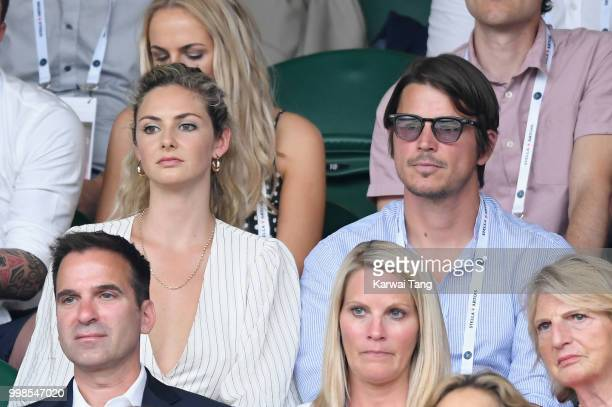 Tamsin Egerton and Josh Hartnett attends day twelve of the Wimbledon Tennis Championships at the All England Lawn Tennis and Croquet Club on July 13...