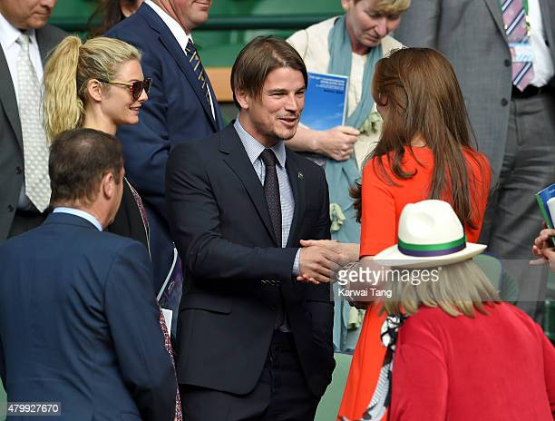 Tamsin Egerton Josh Hartnett and Catherine Duchess of Cambridge attend day nine of the Wimbledon Tennis Championships at Wimbledon on July 8 2015 in...
