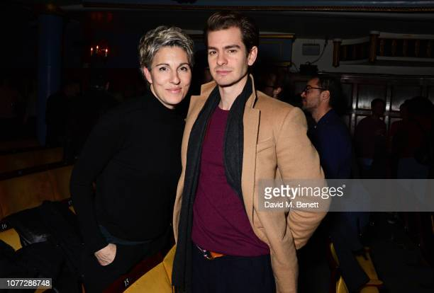 Tamsin Greig and Andrew Garfield attend the press night after party for 'Pinter At The Pinter' Pinter Five and Pinter Six at the Harold Pinter...