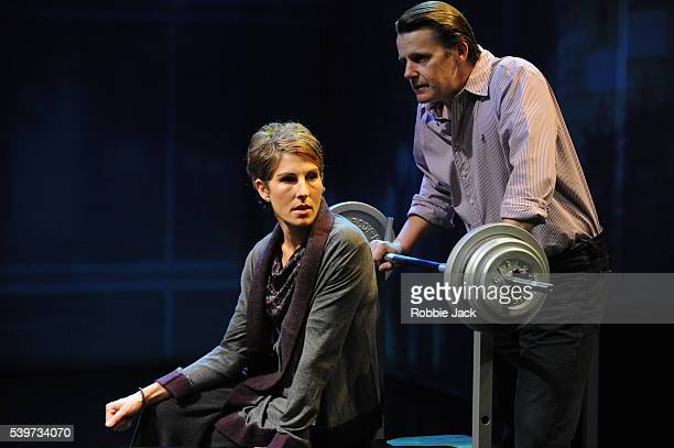 Tamsin Greig and Anthony Calf perform in David Hare's play Gethsemane directed by Howard Davies at the National Theatre in London