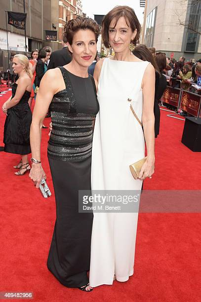 Tamsin Greig and Haydn Gwynne attend The Olivier Awards at The Royal Opera House on April 12 2015 in London England