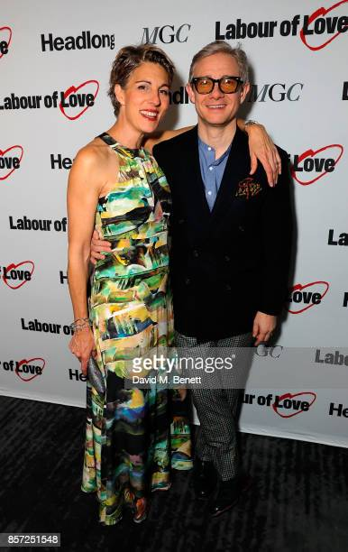 Tamsin Greig and Martin Freeman attend the press night after party for Labour Of Love at The National Cafe on October 3 2017 in London England