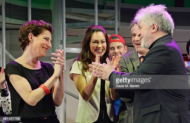Tamsin Greig Anna Skellern and Pedro Almodovar bow at the curtain call during the press night performance of 'Woman On The Verge Of A Nervous...