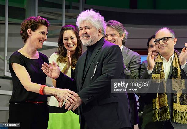 Tamsin Greig Anna Skellern Pedro Almodovar director Bartlett Sher and writer David Yazbek bow at the curtain call during the press night performance...