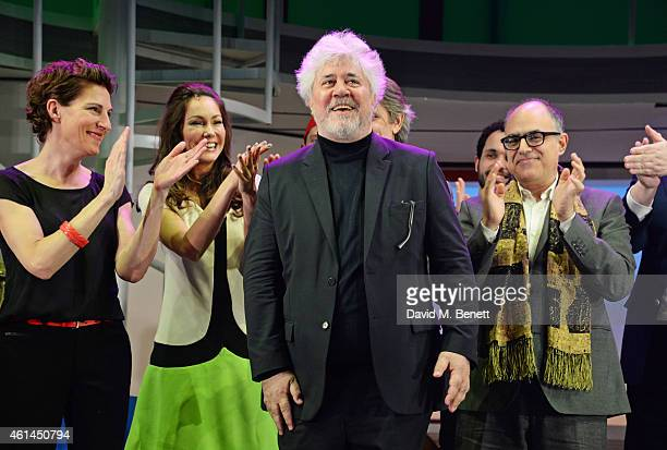Tamsin Greig Anna Skellern writer David Yazbek and Pedro Almodovar bow at the curtain call during the press night performance of 'Woman On The Verge...