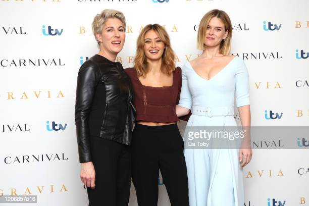 Tamsin Greig Ella Purnell and Alice Eve attend the Belgravia photocall at Soho Hotel on February 17 2020 in London England