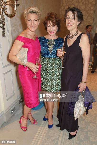 Tamsin Greig Kathy Lette and Dame Harriet Walter attend The South Bank Sky Arts Awards drinks reception at The Savoy Hotel on July 9 2017 in London...