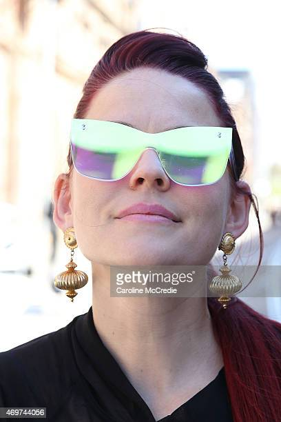 Tamsin Holland wearing Limedrop sun glasses at MercedesBenz Fashion Week Australia 2015 at Carriageworks on April 15 2015 in Sydney Australia