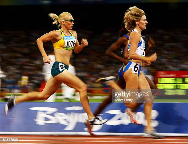 Tamsyn Lewis of Australia and Lucia Klocova of Slovakia compete in the Women's 800m Semi Finalat the National Stadium on Day 8 of the Beijing 2008...