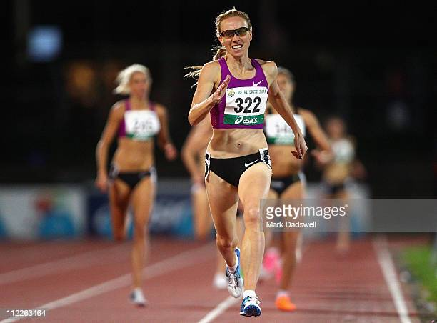 Tamsyn Lewis of VIC wins the Womens 800 Metres Open Final during day two of the Australian Athletics National Campionships at Olympic Park on April...