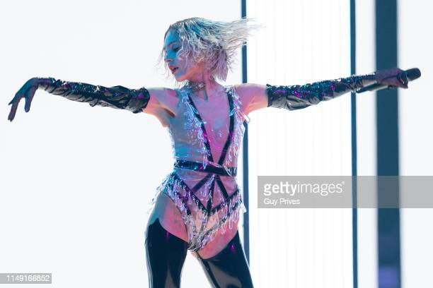 Tamta from Cyprus performs during the 64th annual Eurovision Song Contest held at Tel Aviv Fairgrounds on May 14 2019 in Tel Aviv Israel