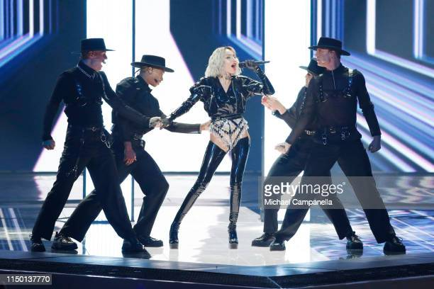 Tamta representing Cyprus performs live on stage during the 64th annual Eurovision Song Contest held at Tel Aviv Fairgrounds on May 18 2019 in Tel...