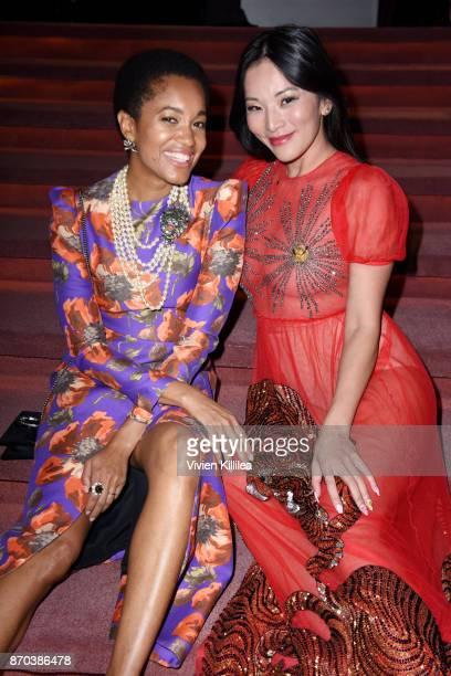 Tamu McPherson and Tina Leung attend the 2017 LACMA Art Film Gala Honoring Mark Bradford and George Lucas presented by Gucci at LACMA on November 4...