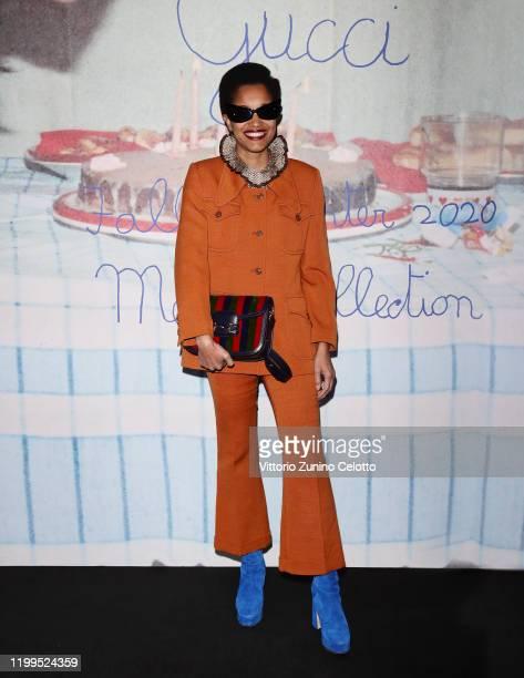 Tamu McPherson arrives at the Gucci show during Milan Menswear Fashion Week Fall/Winter 2020/21 on January 14 2020 in Milan Italy