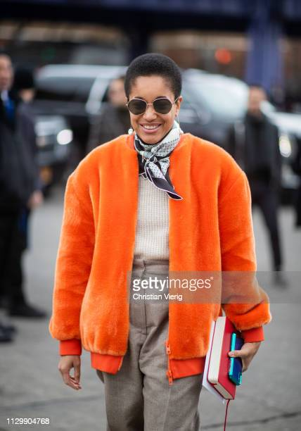 Tamu McPherson is seen outside Boss during New York Fashion Week Autumn Winter 2019 on February 13 2019 in New York City