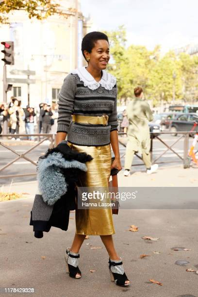 Tamu McPherson wearing Miu Miu outside Miu Miu during Paris Fashion Week Womenswear Spring Summer 2020 on October 01, 2019 in Paris, France.