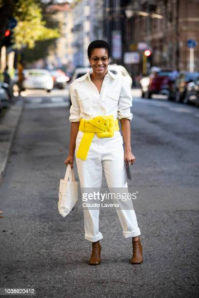 Tamu McPherson wearing white suit and yellow belt is seen before the Marni show during Milan Fashion Week Spring/Summer 2019 on September 23 2018 in...