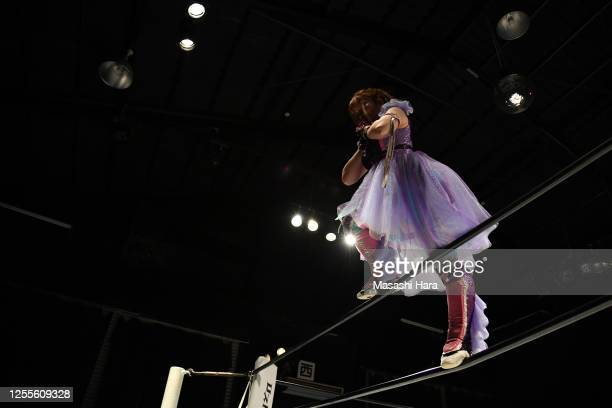 Tamu Nakano looks on during the Women's Pro-Wrestling 'Stardom' at the Shinkiba 1st Ring on July 11, 2020 in Tokyo, Japan.