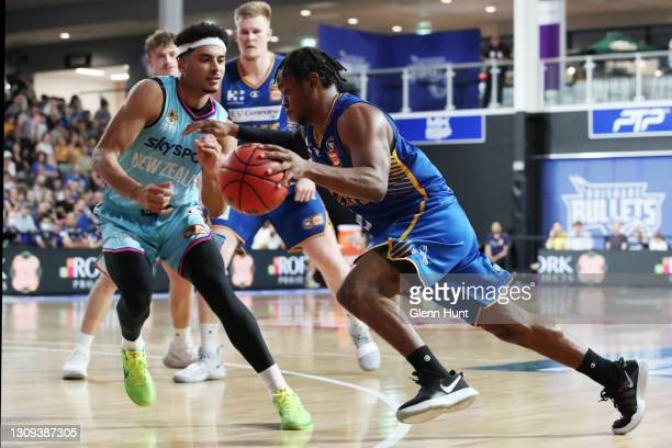 Tamuri Wigness of the Bullets drives to the basket during the round 11 NBL match between the Brisbane Bullets and the New Zealand Breakers at Nissan...