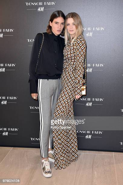 Tamy Glauser and Dominique Rinderknecht attend the H&M Flagship Opening Party as part of Paris Fashion Week on June 19, 2018 in Paris, France.