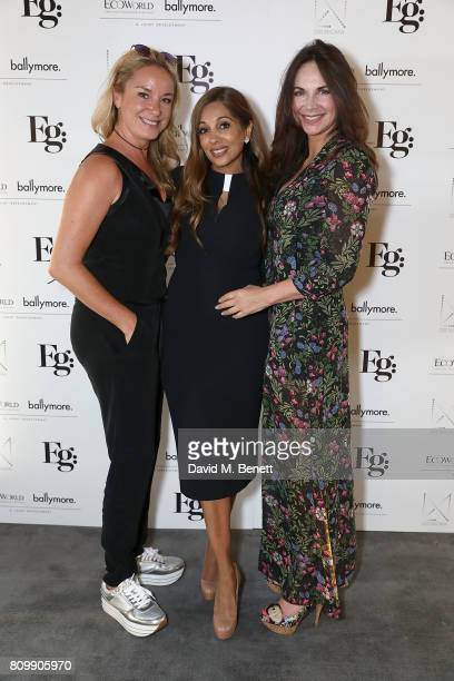 Tamzin Outhwait Dr Nigma Talib and Carole Caplin attend a celebration of wellness and personal wellbeing at Embassy Gardens on July 6 2017 in London...