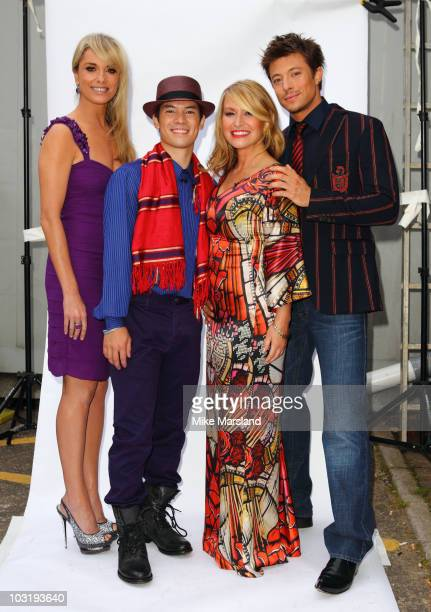 """Tamzin Outhwaite, Charles """"Chucky"""" Klapow, Anastacia and Duncan James on set of Five TV's 'Don't Stop Believing' at Maidstone Studio's on August 1,..."""