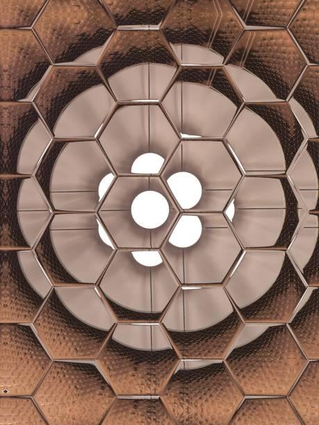 Tan circle behind stamped glass