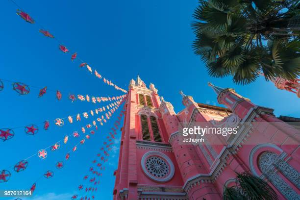 Tan Dinh church with pink color in christmas season.