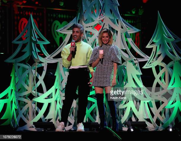 Tan France and Ashley Tisdale speaks during Z100's Jingle Ball 2018 at Madison Square Garden on December 07 2018 in New York City