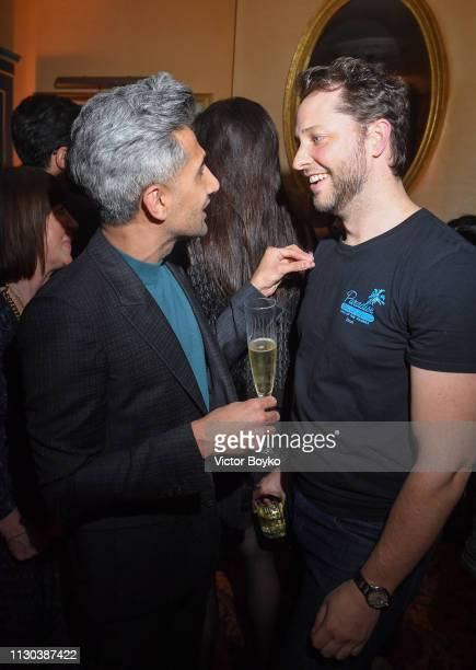 Tan France and Derek Blasberg attend the Victoria Beckham x YouTube Fashion Beauty After Party at London Fashion Week hosted by Derek Blasberg and...