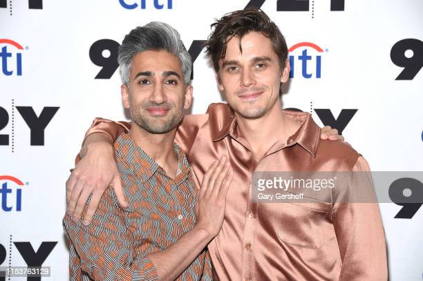 Tan France and event moderator Antoni Porowski attend 'Queer Eye's Tan France in Conversation with Antoni Porowski' at 92nd Street Y on June 04 2019...